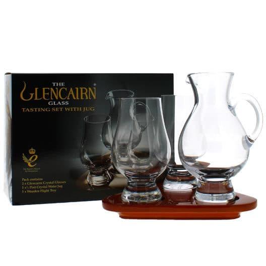 Набор для виски Glencairn Testing set (2 бокала, кувшин и деревянная подставка)